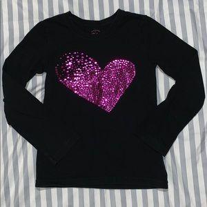 Faded Glory Purple sparkly heart long sleeve shirt